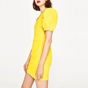Yellow one shoulder Zara dress